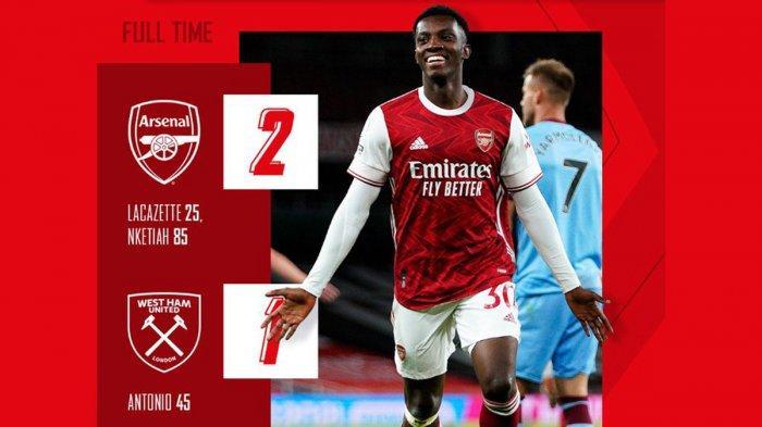 Hasil Liga Inggris Arsenal vs West Ham United - Gol Eddie Nketiah Cetak Gol Penentu, Arsenal Menang