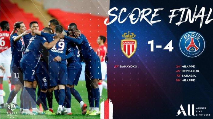 Hasil Liga Perancis AS Monaco vs PSG - Neymar CS Bungkam AS Monaco dengan 4 Gol, Mbappe 2 Gol