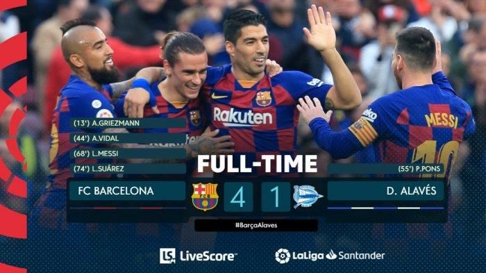 Hasil Liga Spanyol Barcelona vs Alaves, El Barca PEsta 4 Gol di Camp Nou, Trio MSG Sumbang 3 Gol