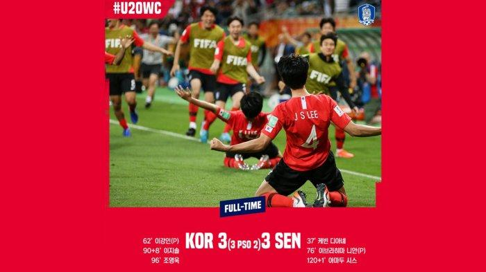 Hasil Perempat Final Piala Dunia U20 2019 Korsel vs Senegal, Menang Adu Penalti, Korsel ke Semifinal