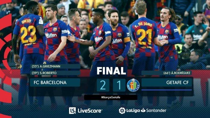 Hasil Liga Spanyol Barcelona vs Getafe, Lionel Messi Sumbang 1 Assist, Barcelona Menang 2-1