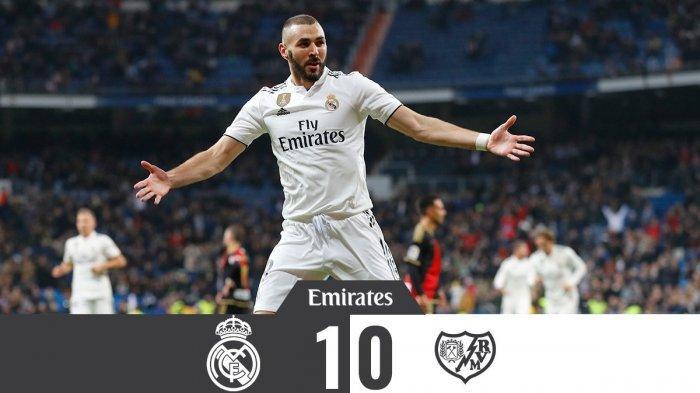 Hasil Liga Spanyol Real Madrid vs Rayo Vallecano - Gol Tunggal Karim Benzema Menangkan Real Madrid