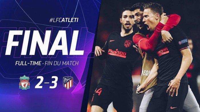 Hasil Pertandingan Liverpool 2-3 Atletico Madrid di Stadium Anfield, Liverpool