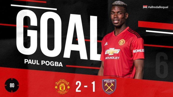 Hasil Liga Inggris Man United vs West Ham United - Paul Pogba Cetak 2 Gol Penalti, MU Menang