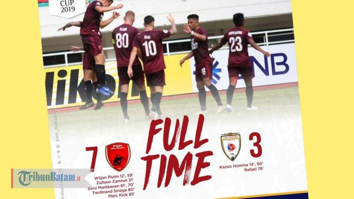 Hasil Akhir PSM Makassar vs Lao Toyota, Pluim-Markkanen Masing-masing 2 Gol, PSM Makassar Menang 7-3