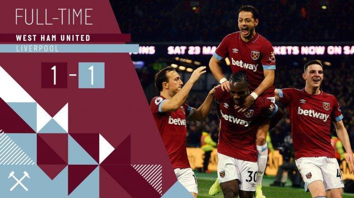 Hasil Liga Inggris West Ham United vs Liverpool - Berakhir Seri, Gol Sadio Mane Dibalas Gol Antonio