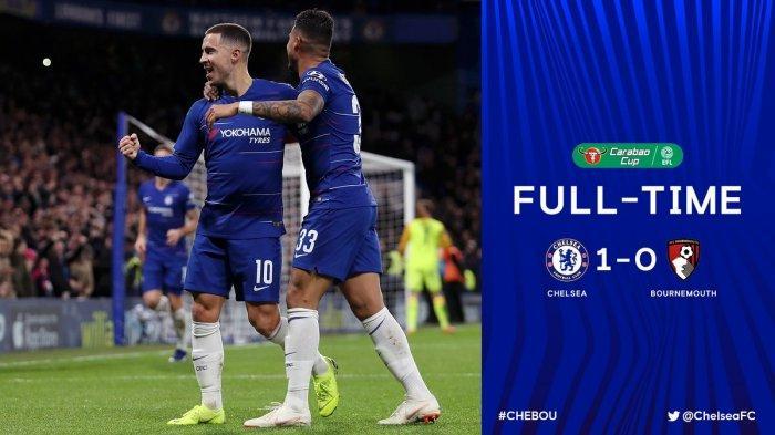Hasil Piala Liga Inggris Chelsea vs Bournemouth - Gol Tunggal Eden Hazard Antar Chelsea ke Semifinal