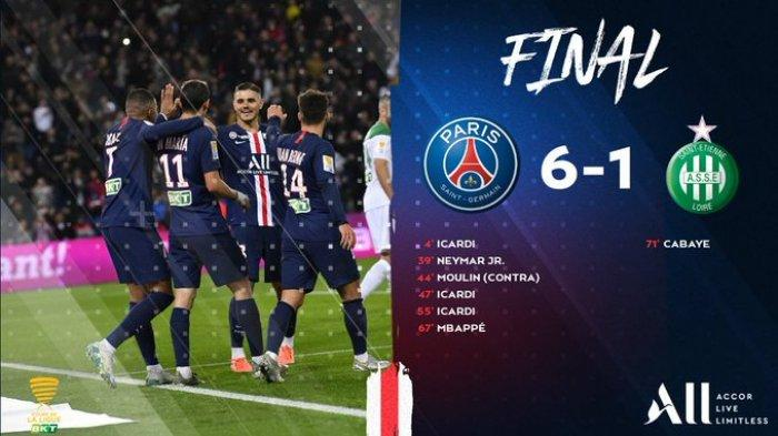 Hasil Piala Liga Perancis PSG vs St Etienne, PSG Pesta 6 Gol, Mauro Icardi Hattrick