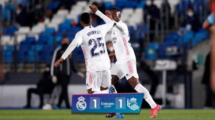 Hasil Real Madrid vs Real Sociedad, Vinicius Junior Cetak Gol Jelang Akhir Laga, Real Madrid Imbang