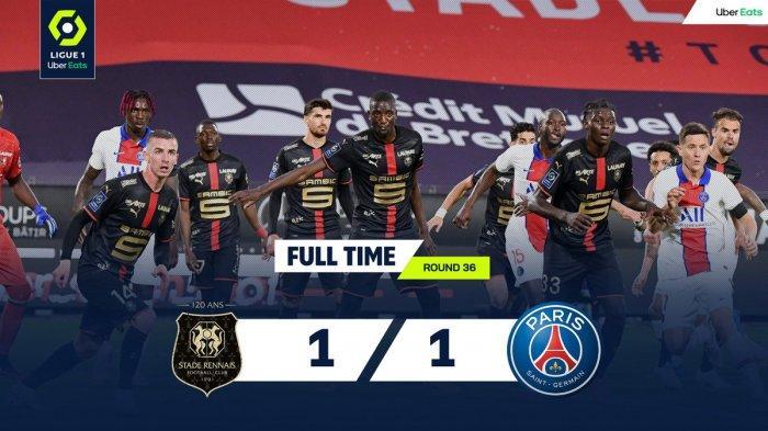 Hasil, Klasemen, Top Skor Liga Prancis Setelah PSG Imbang Lawan Rennes, Kylian Mbappé 25 Gol