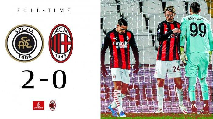 Hasil Liga Italia Spezia vs AC Milan - AC Milan kalah di kandang Spezia di pekan 22 Liga Italia