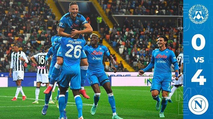 Hasil Udinese vs Napoli, Pesta 4 Gol Lawan Udinese Napoli Kuasai Klasemen Liga Italia