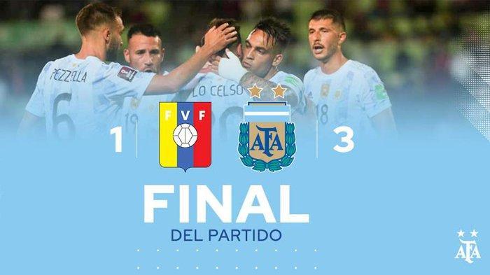 Hasil Venezuela vs Argentina, Lionel Messi Ditekel, Martinez & Duo Correa Cetak Gol Argentina Menang