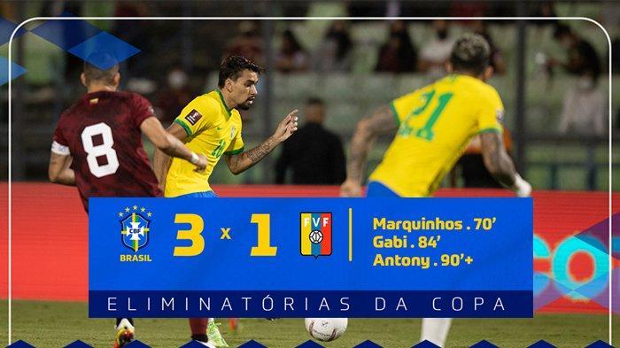 Hasil Venezuela vs Brazil, Neymar Absen, Marquinhos Cetak Gol, Brazil Menang