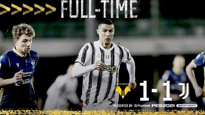 Hasil Verona vs Juventus - Juventus ditahan imbang Verona 1-1 di pekan 24 Liga Italia 2020-2021, Sabtu (27/2/2021) malam atau Minggu dinihari WIB.