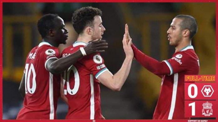 Hasil Liga Inggris Wolves vs Liverpool, Rui Patricio Cedera, Diogo Jota Cetak Gol, Liverpool Menang