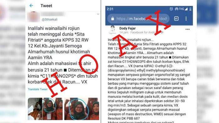 Viral di Medsos Info Hoax Petugas KPPS Meninggal Diracun, Begini Penjelasan Polisi dan Keluarga