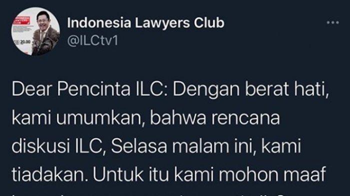 ILC 10 November 2020 Batal Tayang, Dulu Soal Omnibus Law UU Cipta Kerja, Malam ini Soal Habib Rizieq