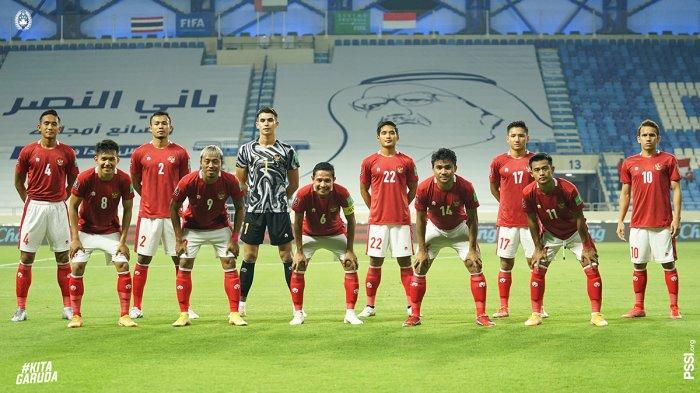 Timnas Indonesia imbang lawan Thailand pada matchday 6 kualifikasi Piala Dunia 2022 Zona Asia, Kamis (3/6/2021). Foto starting XI line up timnas Indonesia