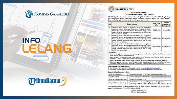 Informasi Pengumuman Lelang PT BPR Sejahtera Batam, Kamis, 25 Oktober 2018