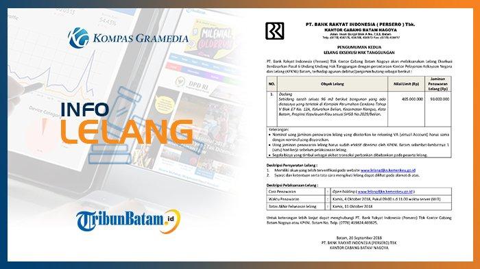 Informasi Pengumuman Lelang PT. Bank Rakyat Indonesia (Persero) Tbk, 20 September 2018