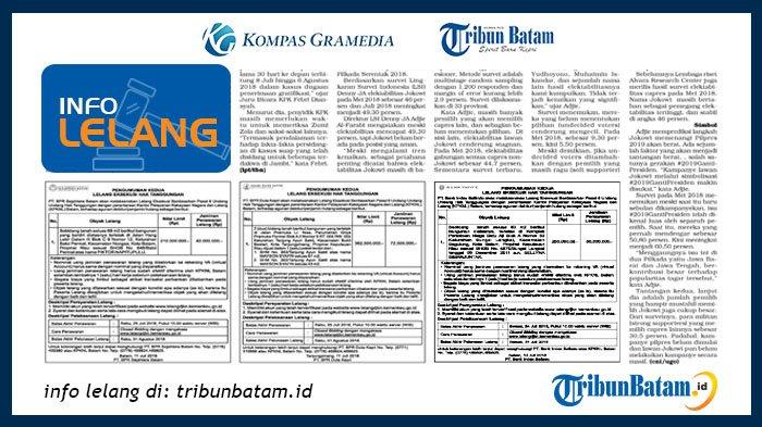 Informasi Pengumuman Lelang PT BPR Sejahtera Batam, 19 Juli 2018