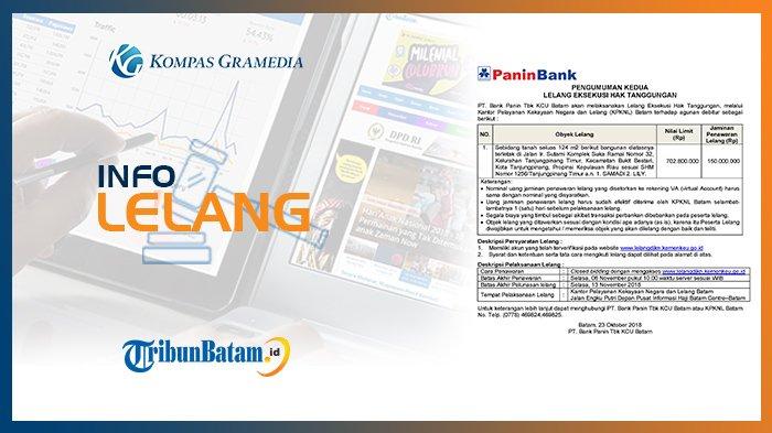 Informasi Pengumuman Lelang PT Bank Panin Tbk KCU Batam, Selasa, 23 Oktober 2018