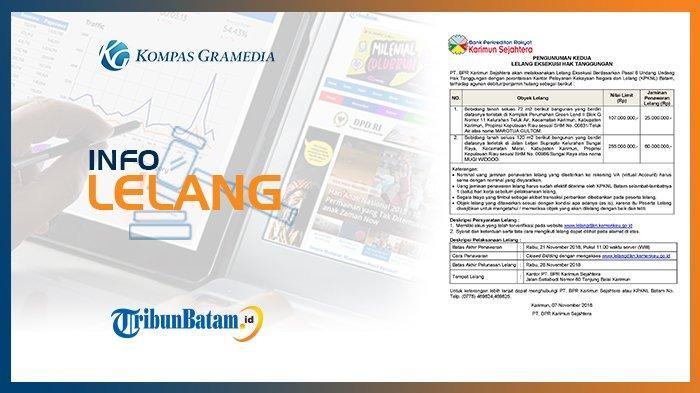 Informasi Pengumuman Lelang PT. BPR Karimun Sejahtera 7 November 2018