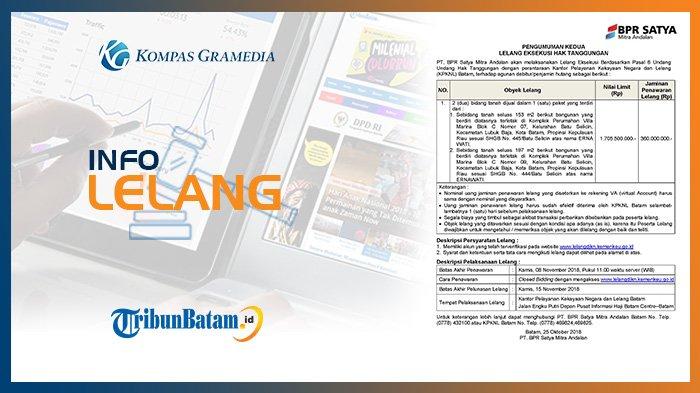 Informasi Pengumuman Lelang PT BPR Satya Mitra Andalan, Kamis, 25 Oktober 2018