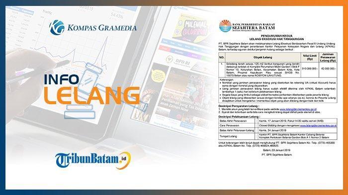 Informasi Pengumuman Lelang PT. BPR Sejahtera Batam, 3 Januari 2019