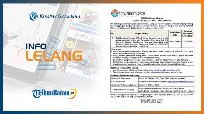 Informasi Pengumuman Lelang PT. BPR Sejahtera Batam, 20 September 2018