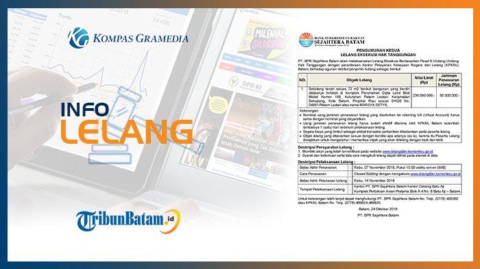 Informasi Pengumuman Lelang PT BPR Sejahtera Batam, Rabu, 24 Oktober 2018