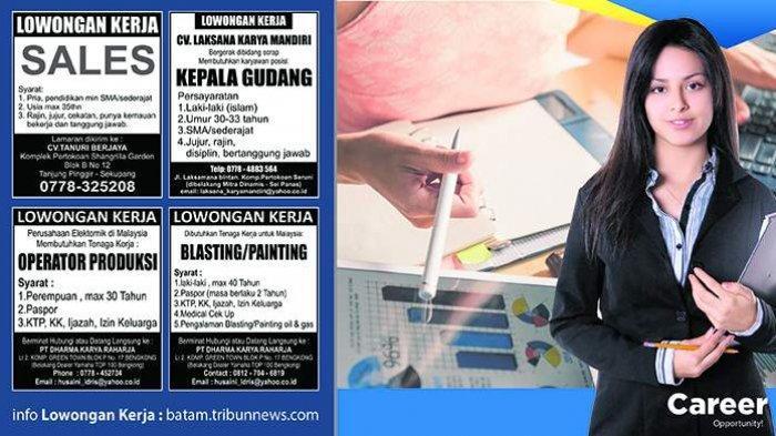 LOKER BATAM HARI INI - Tiga Lowongan Kerja Terbaru, Ada Perusahaan Malaysia Butuh Operator Produksi
