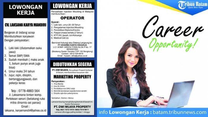 Info Loker Batam Marketing hingga Project Engineering
