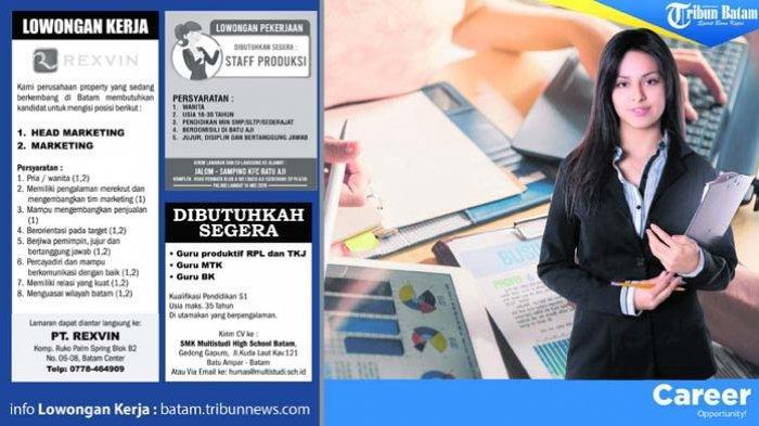 Info Loker Batam Hari Ini Mulai dari Staf Produksi hingga Head Marketing