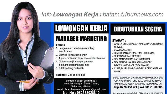 Info Loker Batam Hari Ini, Dibutuhkan Manager Marketing