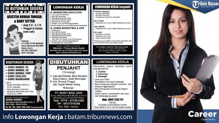 Info Loker Hari Ini - Ada Enam Informasi Lowongan Kerja di Batam. Perhatikan Syarat dan Ketentuannya