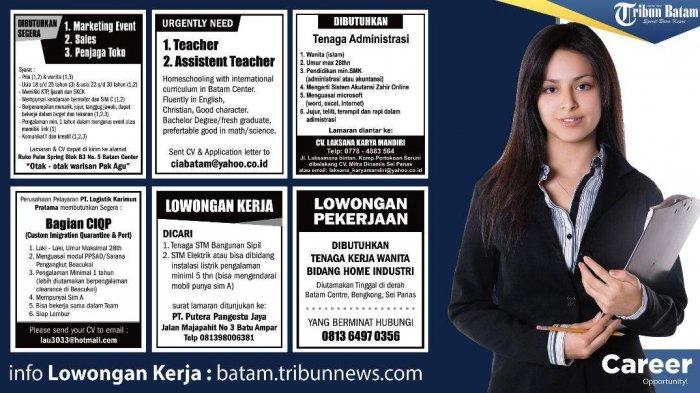LOKER BATAM HARI INI - 6 Info Lowongan Kerja Terbaru. Simak Syarat dan Ketentuannya