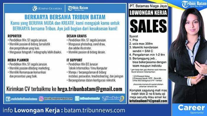 LOKER BATAM HARI INI - 2 Informasi Lowongan Kerja Hari Ini. Selain Sales, Ada Juga Desain Grafis