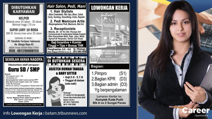 LOKER BATAM HARI INI - Lowongan Kerja Terbaru di Batam. Simak 5 Info Loker Terbaru Hari Ini