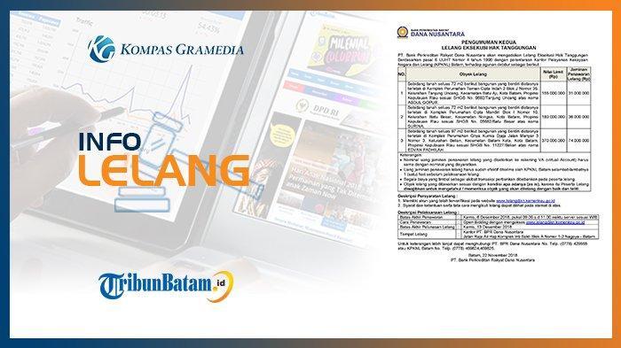 Informasi Pengumuman Lelang PT. Bank Perkreditan Rakyat Dana Nusantara, 22 November 2018