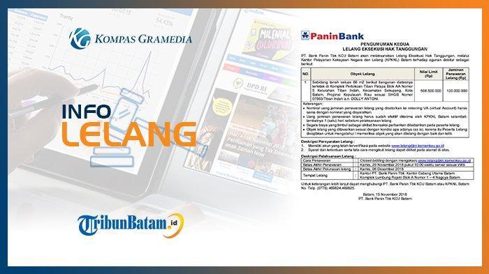 Informasi Pengumuman Lelang PT Bank Panin Tbk KCU Batam, 15 November 2018