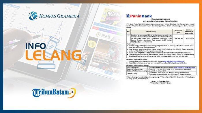 Informasi Pengumuman Lelang PT. Bank Panin Tbk KCU Batam 28 Desember 2018