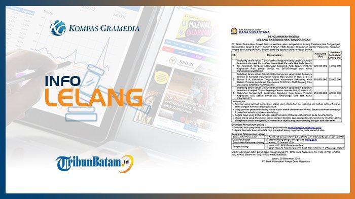 Informasi Pengumuman Lelang PT Bank Perkreditan Rakyat Dana Nusantara 20 Desember 2018