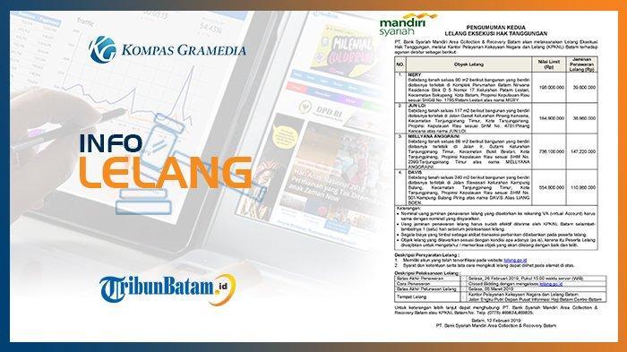 Info Pengumuman Lelang PT Bank Syariah Mandiri Area Collection & Recovery Batam 12 Februari 2019