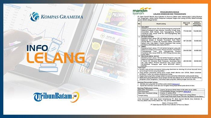 Informasi Pengumuman Lelang PT. Bank Syariah Mandiri Area Collection & Recovery Batam 10 Jan 2019