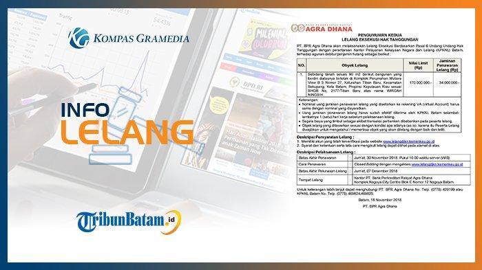 Informasi Pengumuman Lelang PT. BPR Agra Dhana, 16 November 2018