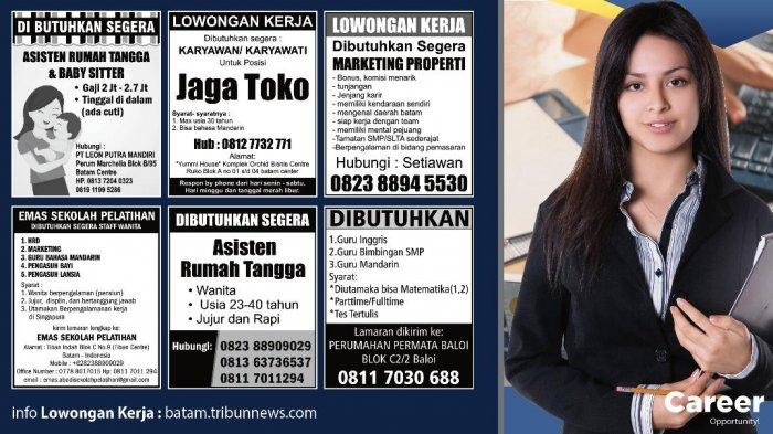LOKER BATAM HARI INI - 6 Info Lowongan Kerja Batam Terbaru Hari Ini, Selasa, 9 Oktober 2018