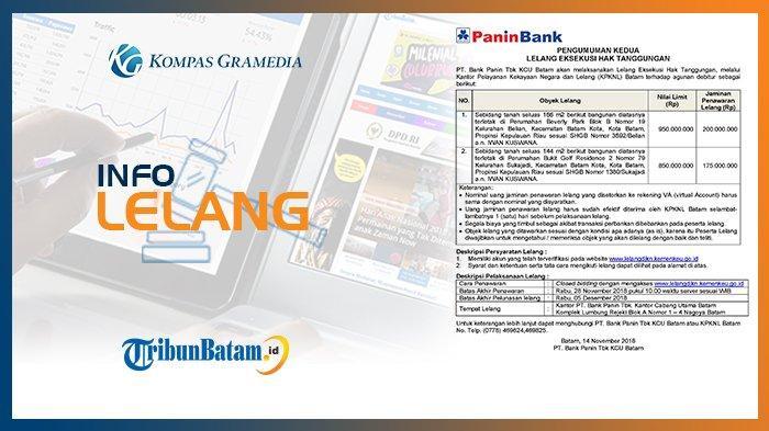 Informasi Pengumuman Lelang PT Bank Panin Tbk KCU Batam, 14 November 2018