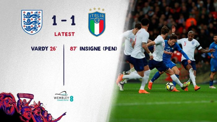 Inggris vs Italia - Gol Jamie Vardy Dibalas Gol Insigne. Laga Ujicoba di Wembley Berakhir Seri